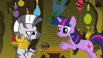 Twilight notices she spilled the drink again S3E05