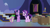 Twilight smiling at embarrassed Spike S6E25