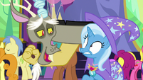 Discord pops out of Trixie's hat S7E1