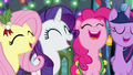 Fluttershy, Rarity, Pinkie, and Twilight singing S6E8.png