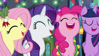 Fluttershy, Rarity, Pinkie, and Twilight singing S6E8