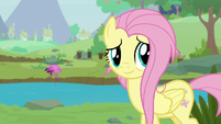 Fluttershy looking back at Dr. Fauna S9E18