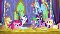 Mane Six stare at Spike S5E3