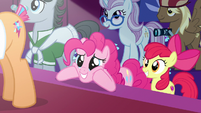 Pinkie Pie eagerly awaits Applejack's decision S7E9
