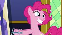 Pinkie Pie grinning wide at Sludge S8E24