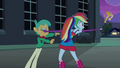 Rainbow Dash tosses the crown to Fluttershy EG.png