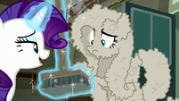 Rarity shows Fluttershy the broom S6E9