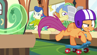Scootaloo zooms across the train car S9E22