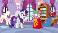 Spike modeling Rarity's phoenix dress S8E11
