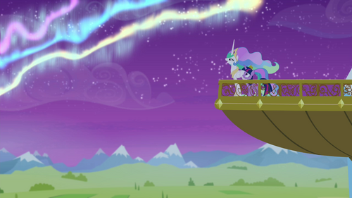 Twilight and Celestia on the balcony S4E25