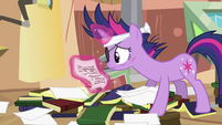 Twilight looking at paper S2E20