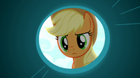 Applejack examining the party cannon S8E18