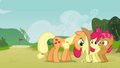 Applejack pushing Apple Bloom and Babs S3E08.png