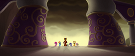 Capper and ponies running toward the castle MLPTM