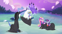 Discord, Twilight and Cadance wearing black robes S4E11