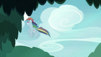 Fake Rainbow flies away from Fluttershy S8E13