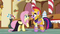 Fluttershy and Twilight in costume S5E21