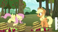 Fluttershy picks up Applejack's overturned basket S7E11