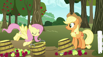 Fluttershy picks up Applejack's overturned basket S7E11