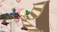 Fluttershy pulls decorative rug off the wall S7E12