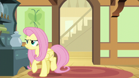 Fluttershy turning away from the den door S6E11