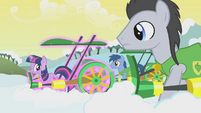 Lucky and Noteworthy stare at Twilight's magic plough S1E11