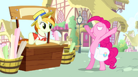 Pinkie Pie and banner vendor pony S4E12