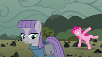 Pinkie Pie cartwheeling behind Maud S4E18