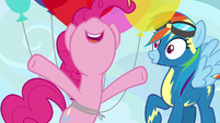 Pinkie Pie pops up in front of Rainbow Dash S7E23