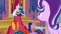 Princess Celestia trying to read Star Swirl's Olde Ponish S7E25