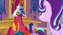 Princess Celestia trying to read Star Swirl's Olde Ponish S7E25
