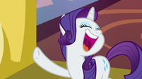Rarity laughs loudly at Spike's 'joke' S9E19