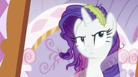 Rarity looking messy in a mirror S6E22