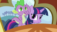 Spike on Twilight's back S3E2