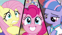 Split screen of Fluttershy, Pinkie, and Wind S9E6