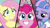 Split screen of Fluttershy, Pinkie, and Wind S9E6