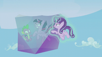 Starlight pushing the encasing down S5E25