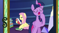 Twilight Sparkle yawns and leaves the library S7E20