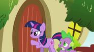 Twilight knocking on Fluttershy's door S03E13