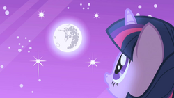 Twilight looks up at the moon S1E01