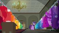 Twilight organizes Rarity's dresses by color S6E9