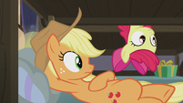 Applejack and Apple Bloom hear Pinkie S5E20