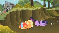 Applejack and Twilight taking cover S2E3