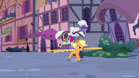 Applejack hijacks Hoity and Photo Finish's palanquin S7E9