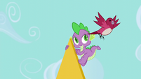 Bird flying away from Spike S5E10