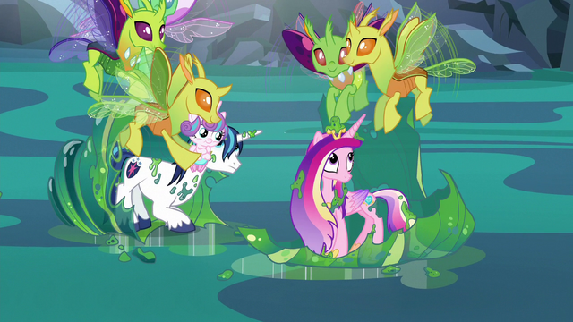 File:Changelings help Cadance and Shining Armor and return Flurry Heart S6E26.png