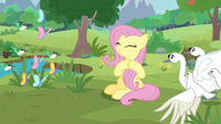 Fluttershy applauding her animal friends S9E26