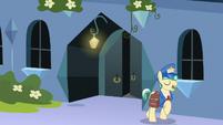 Mail Pony trots away from Sapphire Joy's house S8E8