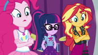 Pinkie, Twilight, and Sunset look clueless EGROF