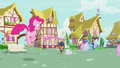 Pinkie Pie hopping up to Newspaper Pony S7E18.png